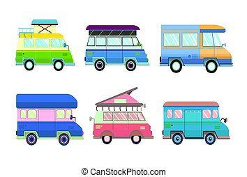 Set of various minivans and motorhomes in flat style. Vector illustration, isolated on white.