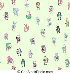 Seamless pattern of children's alphabet with cute animals. Vector illustration.