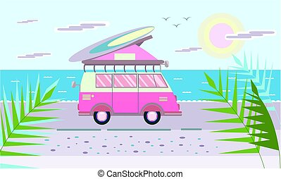 Mini van with surf Board on the roof on the sea beach. Vector illustration in flat style.