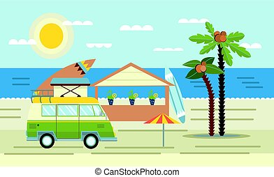 Mini van with surf Board on the roof on the sea and beach bar. Vector illustration in flat style.