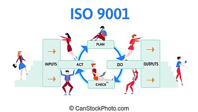 ISO 9001 quality management system. Process diagram with business men and women. Vector illustration, isolated on white.