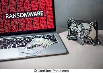 Hard disk locked with monitor show ransomware cyber attack -...