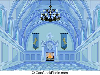 Castle Hall - Illustration of medieval castle hall and...