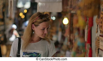Young female tourist exploring Old Market. Slow motion....