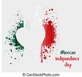 Mexican Independence day background with grunge heart