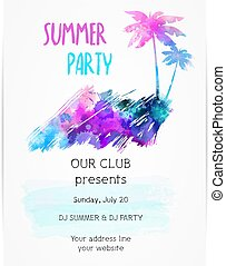 Template for summer party poster.