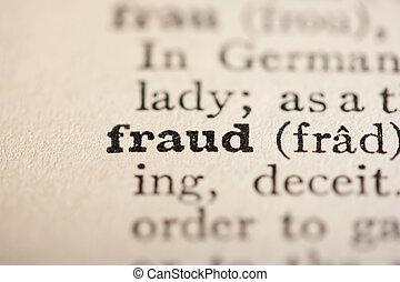 Word fraud from the old dictionary, a close up