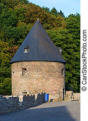 An old castle from the Middle Ages. - Partial view of an old...