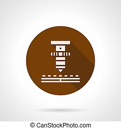 High precision laser brown round vector icon