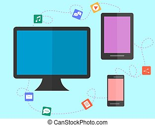 data sharing and transfer concept between devices. flat design.