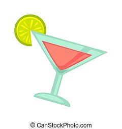 Pink cocktail in martini glass with lime slice on white