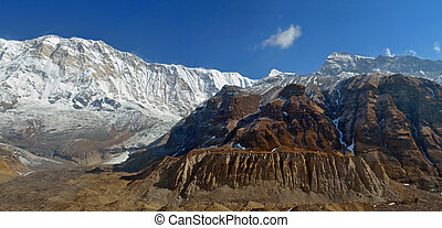 Panoramic Mountain Landscape in Himalaya. View from Annapurna Base Camp.
