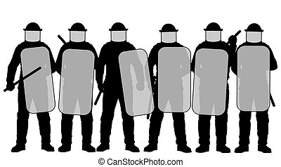 Riot police - Editable vector illustration of a group riot...