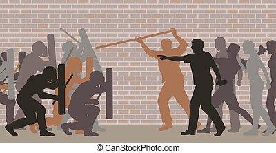 Street riot - Editable vector cutout illustration of riot...