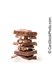 Chocolate porous, milky, with nuts on empty white background