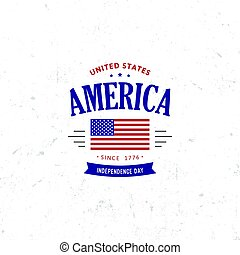 United States of North America Vector Logo Vintage simple style. Independence day national holiday icon. Blue and red colors USA windy flag. Retro style lettering.