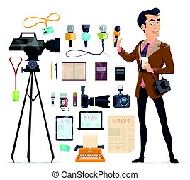 Journalism Elements Set - Journalism elements set with...