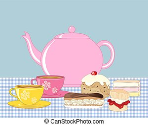 tea and buns - a vector illustration in eps 10 format of an...
