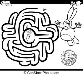 maze with rabbit coloring page - Black and White Cartoon...