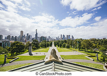 Melbourne Shrine Of Remembrance - Point of View shot from...