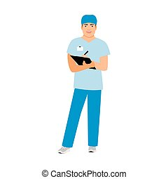Hospital attendant medical specialist isolated vector...
