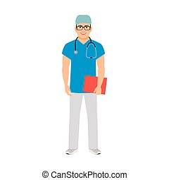 Pediatrician medical specialist isolated vector illustration...