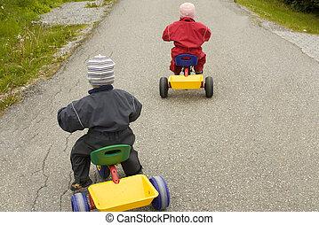 niños, carreras, triciclos, niño, rojo,...