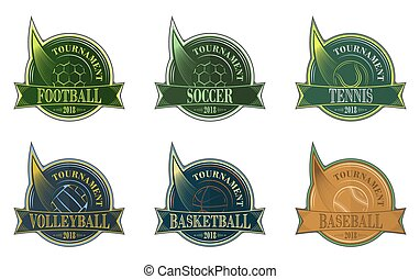 Set of sport emblem with ball. Football, soccer, volleyball, basketball, baseball and tennis vector badges.