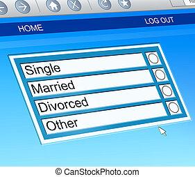 Marital status concept. - Illustration depicting a computer...