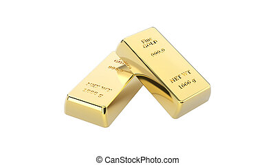 3D illustration closeup isolated shiny group of two gold bars
