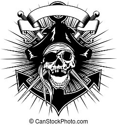 Pirate sign skull - Vector illustration pirate sign skull in...