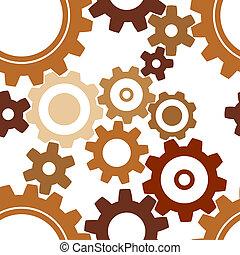 seamless, rostig, kugghjul, mönster
