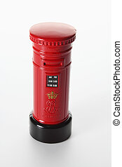 Miniature Post Box on Seamless White Background