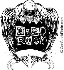hard rock - Vector illustration skulls and lettering hard...