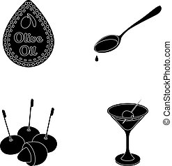 Label of olive oil, spoon with a drop, olives on sticks, a glass of alcohol. Olives set collection icons in black style vector symbol stock illustration web.