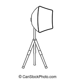 Lighting device on a tripod.Making movie single icon in outline style vector symbol stock illustration web.