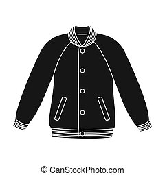 Uniform baseball jacket. Baseball single icon in black style...