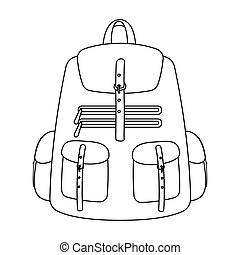 A backpack for things.Tent single icon in outline style...