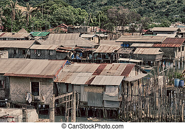 house in the slum for poor people - blur philippines house...