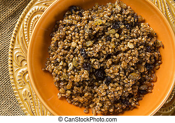 Kutya cereal dish, native to Russia and Ukraine, made from...