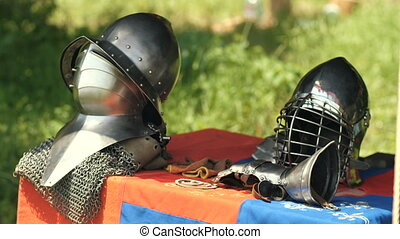 Helms of medieval knight - Armour of the medieval knight....