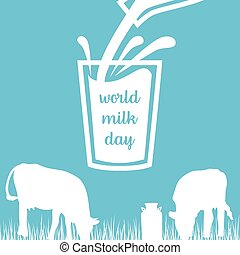 World milk day Cow, Milk pouring from a bottle in glass,...