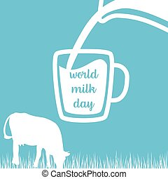 World milk day Cow, Milk pouring from a jar in cup,...
