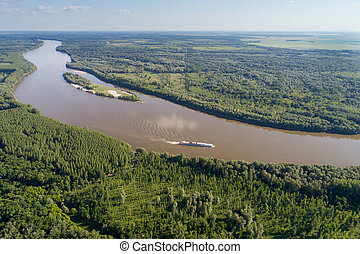 River landscape shoot from drone - Aerial image of beautiful...