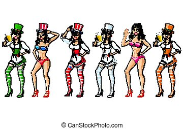 Vector People Set with Beautiful Women. Student, Fitness, Selfie Girl, Office and a Housewife. Colorful Collection. USA. Ireland. US. irish. bikini