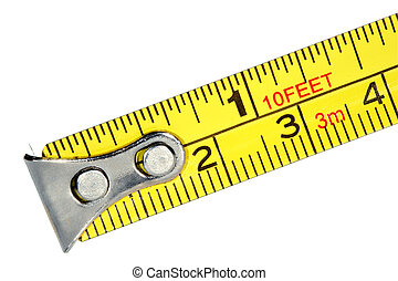 Measuring tape. Macro isolated over white background