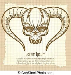Monsters skull on vintage background - Monsters skull with...