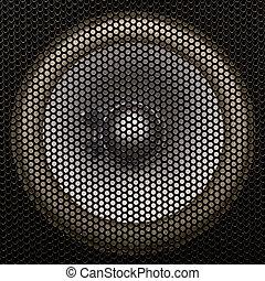 Loud speaker. - Close up of a black loud speaker.