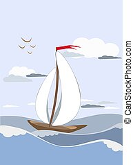 Sailboat sails on the waves with white sails with.