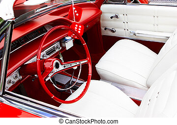 Vintage car - An interior of the retro old car